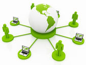 Global Computer Network green — Stock Photo