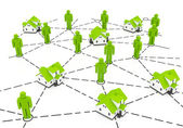 Real Estate Market, green network — Stock Photo