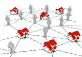 Real Estate Market, grey and red house network — Stock Photo