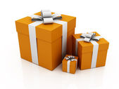 Gifts, orange color — Stock Photo