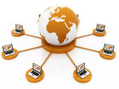 Global Computer Network orange — Stock Photo