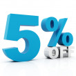 5 Percent off blue color — Stock Photo