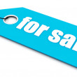 For sale ticket, blue color — Stock Photo