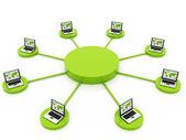 Datornätverk kommunicera data varandra — Stockfoto