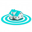 Illustration of a house in the center of a blue target. - Stock Photo