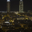 Night view of the twin towers in Barcelona — Stock Photo