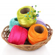Thread bobbins and wool bals - Stock Photo