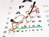 Glasses on test chart — Foto Stock