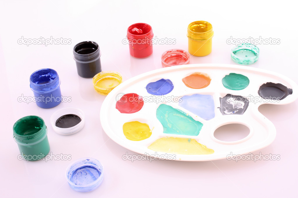 Palette with different colors isolated on white — Stock Photo #6779921