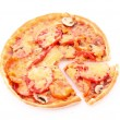 Tasty pizza isolated on white — Stok fotoğraf