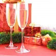 Two glasses of champagne and Christmas decoration — Stock Photo