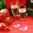 Two glasses of champagne and Christmas decoration — Stock Photo #6780750