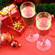 Two glasses of champagne and Christmas decoration — Stock Photo #6780751