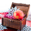 Christmas decorations, chest, bulbs and snowflakes — Stock Photo