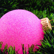 New year decoration on firtree background — Stock Photo #6780842