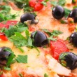 Tasty Pizza with olives  closeup — Stock Photo