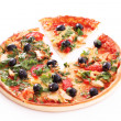 Tasty Pizza with olives isolated on white — Stock Photo