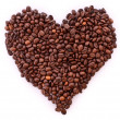 Coffee beans in heart symbol isolated on white. I love coffee. — Stock Photo #6781157