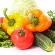 Peppers, tomato, cucumber and salad isolated — Stock Photo