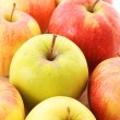 Stock Photo: Red and green apple closeup
