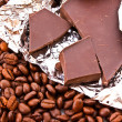 Stock Photo: Chocolate and coffee beans
