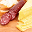 Sausage and bread on wooden surface — Stock Photo #6781949