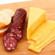 Sausage and bread on wooden surface — Stock Photo #6781952