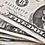 Few dollar banknotes closeup — Stock Photo