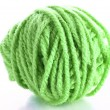 Green ball of woollen red thread isolated on white — Stock Photo
