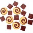 Chocolate cookies isolated on white — Stock Photo