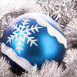 Christmas balls in shiny decoration — Stock Photo