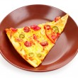 Tasty Italian pizza on plate — ストック写真