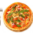 Pizza and fork isolated on white — Stock Photo