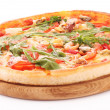 Pizza isolated on white — Stok fotoğraf
