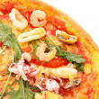Pizza closeup isolated on white — Stock Photo