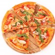 Pizza isolated on white — Stock Photo