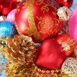 Coloured sparkling decorations for new year's tree — Stock Photo #6786228