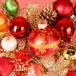 Multicoloured shining adornments for xmas — Stockfoto