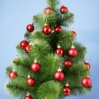Christmas tree with glass red balls — Stock Photo