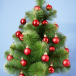 Christmas tree with glass red balls - Zdjęcie stockowe