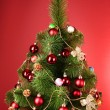 Christmas tree with glass red balls - Stockfoto