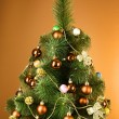 Christmas tree with glass yellow balls - Stok fotoğraf