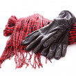 Scarf and gloves isolated on white — Stock Photo