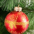 Red Christmas balls among green new year tree — Stock Photo