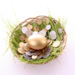 Gold egg in nest. Ukrainicoins — Stock Photo #6787515