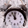 Vintage Alarm Clock in shiny decoration. New year time — Stock Photo