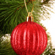 Christmas balls hanging with ribbons on fir tree — Stock Photo