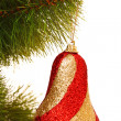 Christmas balls hanging with ribbons on fir tree — Stock Photo #6788081