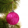 Christmas balls hanging with ribbons on fir tree — Stock Photo #6788149