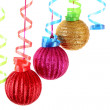 Christmas balls hanging with ribbons isolated on white — Stock Photo